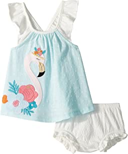 Mud Pie Flamingo Dress and Bloomer Two-Piece Set (Infant)