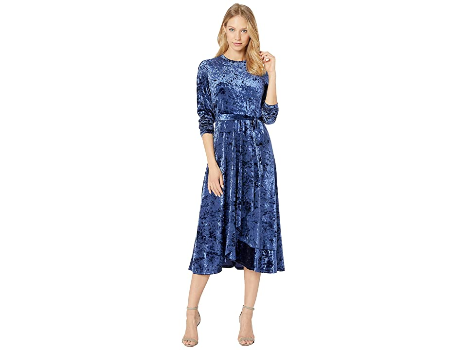 Juicy Couture Crushed Velvet Midi Dress (Royal Navy) Women