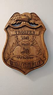 Personalized Michigan State Trooper Police Badge V Carved Wooden Sign.