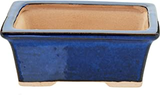 Glazed Ceramic Bonsai Pot - Decorative Planter for Dwarf Trees, Succulents, Small Plants - Blue Rectangular Container Perfect for Indoor and Outdoor Gardens, Table Centerpieces, and Windowsill Decor
