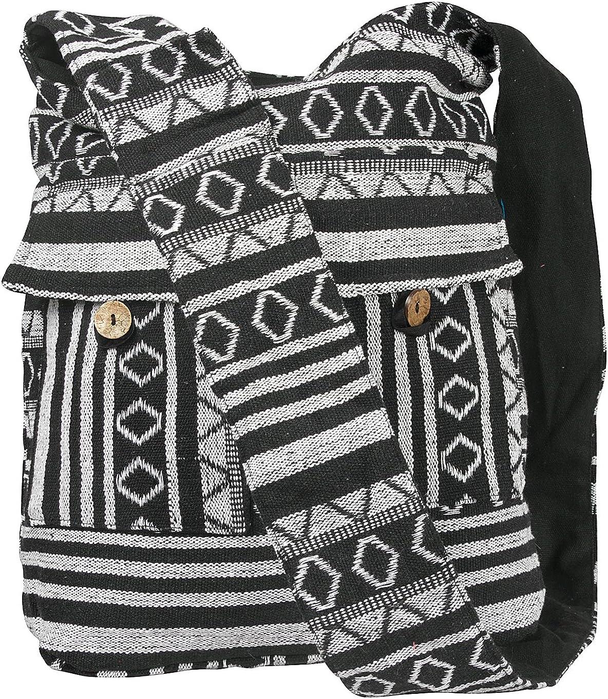 Tribe Azure Aztec Black White Woven Handmade Crossbody Hobo Women Shoulder Bag Sling Casual Large