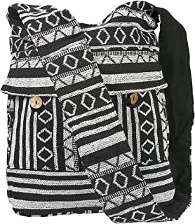 Tribe Azure Aztec Black White Woven Handmade Crossbody Hobo Women Shoulder Bag Sling Casual Large