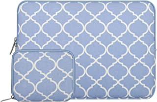 MOSISO Quatrefoil Style Canvas Fabric Laptop Sleeve Bag Cover for 13-13.3 Inch MacBook Pro, MacBook Air, Notebook with Small Case, Serenity Blue