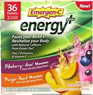 Emergen-C Energy+ Supplement Drink Mix with Caffeine, Blueberry-Acai, Mango-Peach, Variety Box, 36 Count - Focus Your Mind...