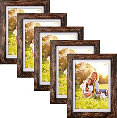 5x7 Picture Frames Set of 5, Rustic Brown Photo Frames 5x7 with Mat or 6x8 Without Mat, Wall or Tabletop Decoration
