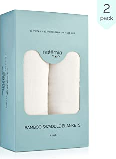 Natemia Extra Soft White Muslin Swaddle Blankets | Large 47 x 47 inches (2 Pack)| Lightweight and Breathable Premium Bamboo/Cotton Baby Swaddle Wrap | Great Baby Shower Gift