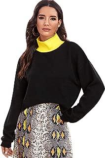 SweatyRocks Women's Color Block Mock Neck Drop Shoulder Long Sleeve Knit Sweater