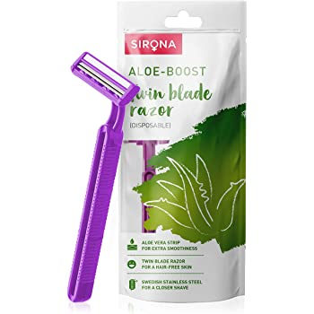 Sirona Disposable Hair Removal for Women with Aloe Boost, 2 Blade Shaving Razor - (Pack of 1, Purple)
