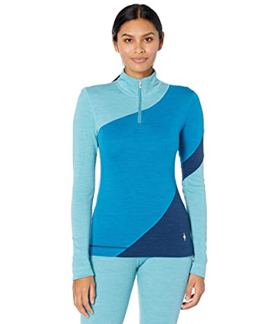 Smartwool Merino 250 Base Layer Color-Block 1/4 Zip (Ocean Abyss Heather) Women
