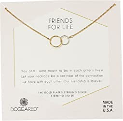 Dogeared - Friends For Life, Two Mixed Metal Linked Rings Necklace