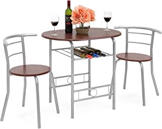 Best Choice Products 3-Piece Wooden Kitchen Dining Room Round Table and Chairs Set w/Built in Wine Rack (Espresso)