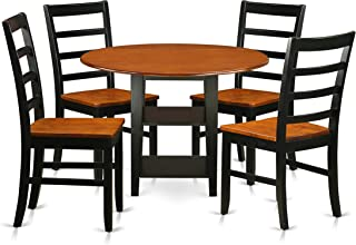 SUPF5-BCH-W 5 Piece Sudbury Set With One Round Dinette Table And 4 Dinette Chairs With Wood Seat In A Elegant Black and Cherry Finish.