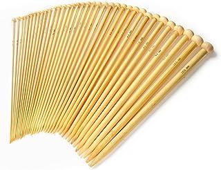 LIHAO 36 Pcs Bamboo Knitting Needles Set Single Point (18 Si