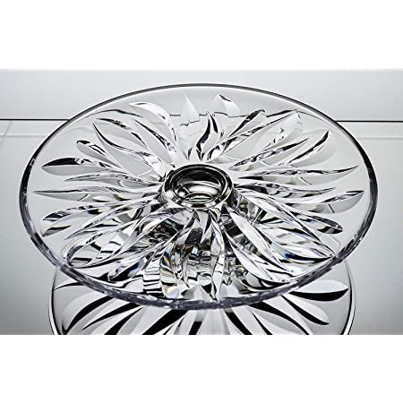 Vintage Bohemia Crystal Glass Footed Cake Stand  Plate