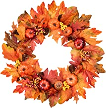 """Lvydec Artificial Pumpkin Fall Wreath Decoration - 20"""" Autumn Wreath with Colorful Maple Leaves Pumpkin Pine Cone and Berr..."""
