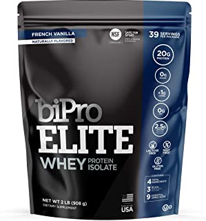 BiPro ELITE 100% Whey Isolate Protein Powder, French Vanilla 2 Pounds - NSF Certified for Sport, Sugar Free, Lactose Free, Gluten Free, Contains Natural Sweeteners