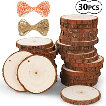 37 Pcs 2.0-2.4 Craft Unfinished Wood kit Predrilled with Hole Wooden Circles for Arts Wood Slices Christmas Ornaments DIY Crafts 5ARTH Natural Wood Slices