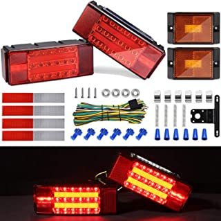 Kohree New LED Submersible Trailer Tail Light Kit, 12V LED Utility Trailer Lights DOT Approval, Fully Submersible License Lights and Wiring Kit Combined Stop,Taillights,Turn Function for Boat Trailer