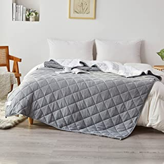 """SIGOODS Weighted Blanket Oeko-TEX Certified Fabric with Premium Glass Beads 15 lbs for Adults (48""""x72"""", Full Size), Revers..."""