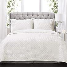 Lush Decor Ava Quilt Diamond Pattern Solid 3 Piece Oversized Bedding Blanket Bedspread Set - King - White