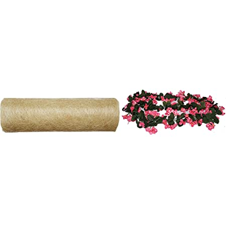 Fourwalls Decorative Artificial Hanging Butterfly Orchid Flower Bale (180 cm Long, Light/Pink) + Abaca Scrunch Fabric Roll(914 cm x 52 cm, White)