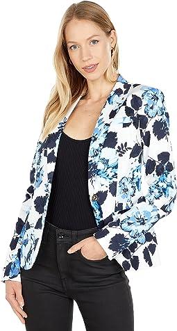 One-Button Floral Blazer
