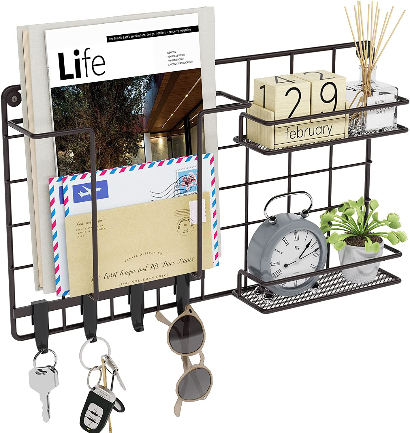 Mail Organizer Industrial Mail and Key Holder Metal Rack for Wall with 4 Key Hooks, 2 Floating Shelves and 1 Magazine Storage Shelf Wall Mounted Home Decor for Entryway
