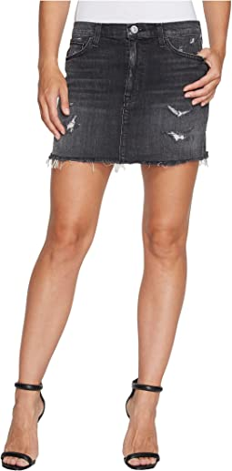 Hudson Vivid Denim Mini Skirt w/ Released Hem in Pretender