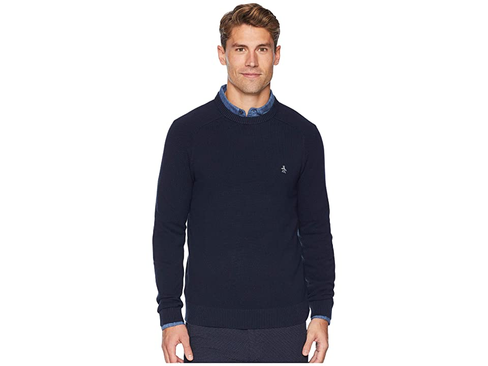 Original Penguin Long Sleeve Honeycomb Pique Sweater (Dark Sapphire) Men