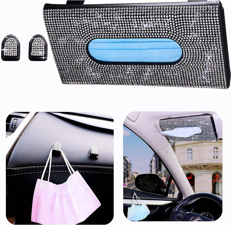 ANRUOXI Car Visor Tissue 1 year warranty Holder with Attention brand Glitter Hooks 2 Spark Mask