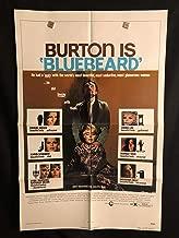 Bluebeard 1972 Original Vintage One Sheet Movie Poster, Blue Beard, Richard Burton, Raquel Welch, Serial Killer, Murder, Crime, Thriller