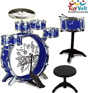 12 Piece Kids Jazz Drum Set – 6 Drums, Cymbal, Chair, Kick Pedal, 2 Drumsticks, Stool – Little Rockstar Kit to Stimulating Children's Creativity, - Ideal Gift Toy for Kids, Teens, Boys & Girls