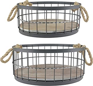 Stonebriar Wire and Wood Baskets Round Brown