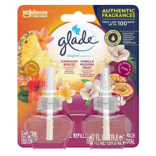 Glade PlugIns Refills Air Freshener, Scented and Essential Oils for Home and Bathroom, Hawaiian Breeze & Vanilla Passion Fruit, 1.34 Oz, 2 Count