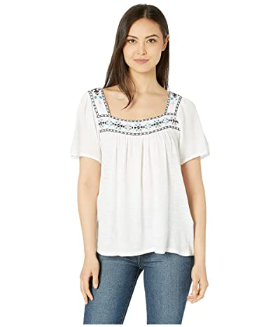 Lucky Brand Embroidered Square Neck Top (Lucky White) Women