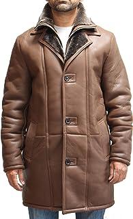 A to Z Leather Cappotto da uomo invernale in vera pelle di montone con collo lungo al fianco. Disponibile in nero e marrone