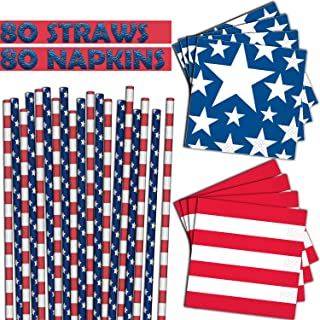 Stars and Stripes - 80 Paper Straws + 80 Beverage Napkins - American Flag Theme, Red White and Blue Party Supplies for Fourth of July, Memorial Day and Patriotic Events