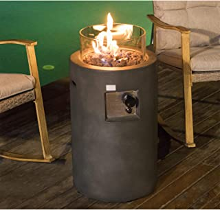 COSIEST Outdoor Propane Fire Pit Table w Compact Ledgestone 17-inch Round Graphite Base and Glass Wind Guard, 40,000 BTU, Free Lava Rocks, Fits 20gal Tank Inside, Raincover