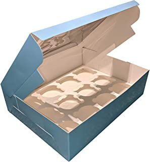 Premium Pale Blue Bakery Boxes with Windows and Inserts for 12 Cupcakes, Muffins, Pastries, Baked Goods. Set of 13 Cardboard Boxes - Take Out Box Containers. Ideal for Bakers 12.25 x 9.5 x 3.5 Inches