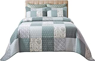 Soul & Lane Memory Lane 100% Cotton 3-Piece Patchwork Bedding Quilt Set - Queen with 2 Shams | Sage Country Quilted Bedspread