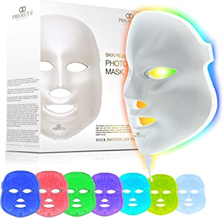 Project E Beauty LED Face Mask Light Therapy | 7 Color Skin Rejuvenation Therapy LED Photon Mask Light Facial Skin Care An...