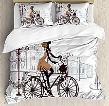 Juego de ropa de cama para adolescentes, 3 piezas Juego de funda nórdica, Chica joven en las calles de París con pantalla de bicicleta francesa, 3 piezas de consolador / Qulit Cover Conjunto con 2 fun