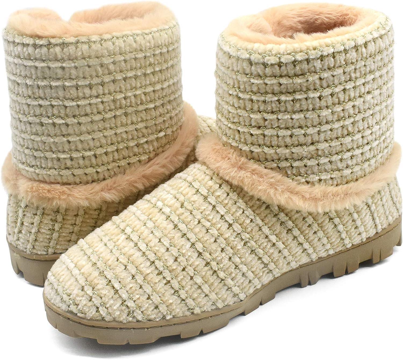 Botas Cerradas Pantuflas Zapatos C/álidos con Forro de Felpa con Suaves Pompones y Suela de Goma Antideslizante COFACE Zapatillas de Casa para Mujer Invierno