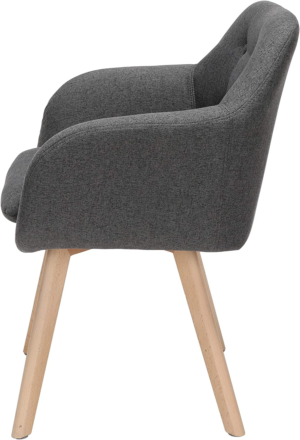 OFM 161 Collection Mid Century Modern 2 Pack Tufted Fabric Accent Chair with Arms Solid Beechwood Legs in Beige Dining Chair