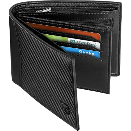 Mens Wallet, BIAL RFID Blocking Wallet Bifold Leather Wallets Mens, Slim Wallet with ID Window Zip Coin Pocket 9 Card Holder and 2 Banknote Compartments, Mens Wallets Card Wallet with Gift Box Black