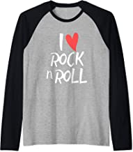 I Love Rock N Roll Tshirt For Girls And Boys Rocker Fans Raglan Baseball Tee