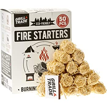 Grill Trade Tumbleweeds Fire Starter - All Natural Fire Starters easily burn up your Wood Stove Grill Fireplace Camping Fire Pit BBQ Charcoal Chimney Pizza Oven - 50 Firelighters in Box