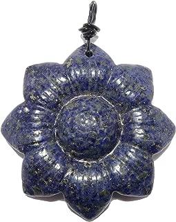 Lapis Flower Pendant Carved Blue Genuine Gemstone Crystal Healing Floral Charm B02