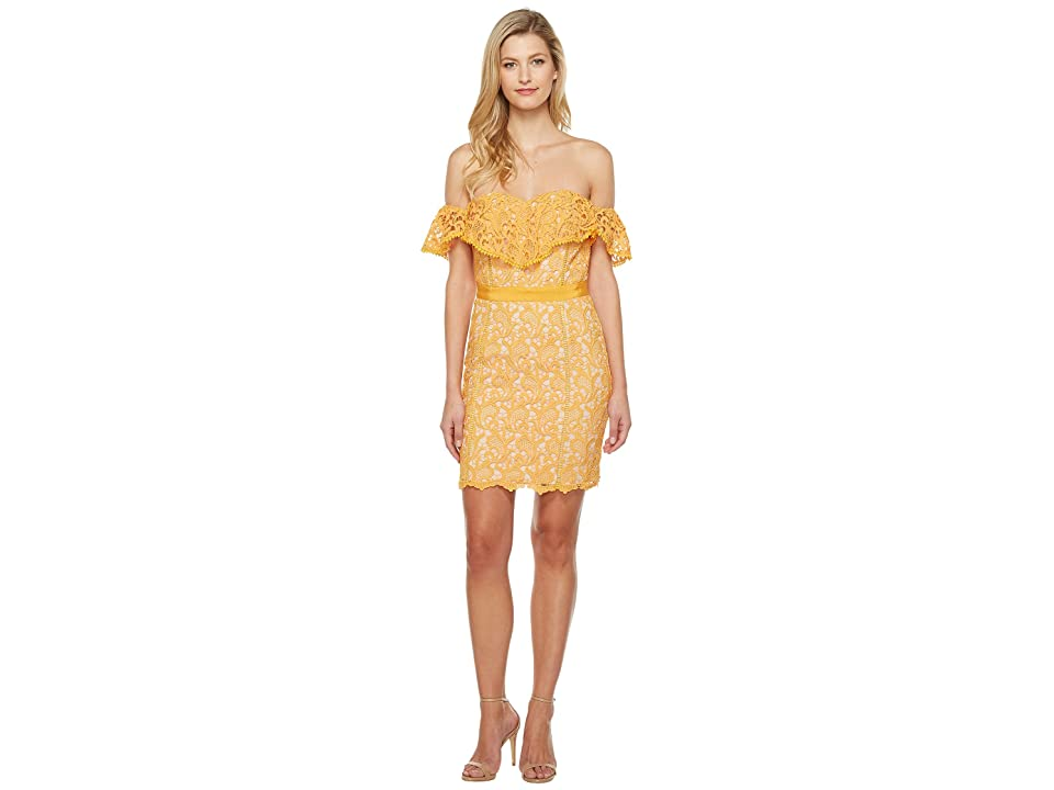 Adelyn Rae Maddie Woven Lace Tube Dress (Mango) Women