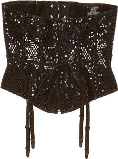 Be Wicked Women's Karla-Black Sequin Zipper Front Waist Cincher